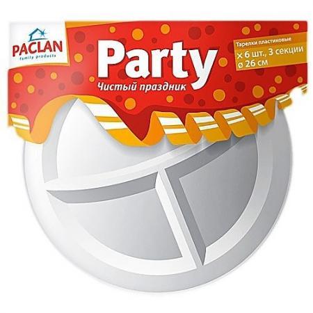 PACLAN Party Тарелка из полистирола 3-х секционная 260мм 6шт от Just.ru
