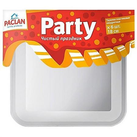 PACLAN Party Тарелка из полистирола квадратная 180мм 6шт от Just.ru