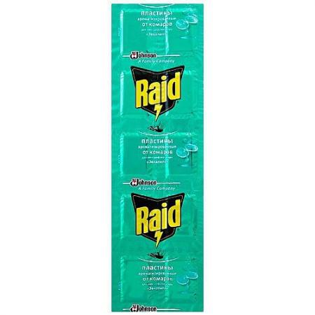 RAID Пластины от комаров Эвкалипт 10 шт пластины от комаров mosquitall нежная защита 10 шт 04744