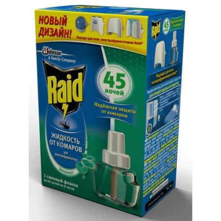 RAID Жидкость для фумигатора Эвкалипт 45 ночей raid 10шт