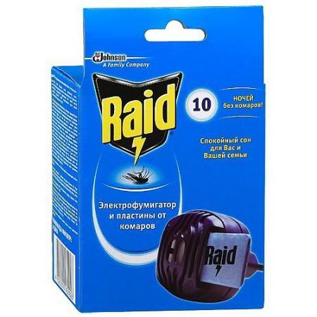 RAID Фумигатор от комаров 10 пластин цена в Москве и Питере