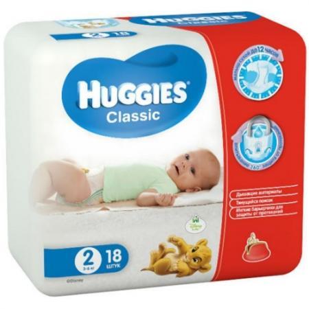 HUGGIES Подгузники CLASSIC Размер 2 3-6кг 18шт pui hing 350mg 30 3
