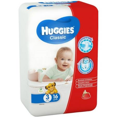HUGGIES Подгузники CLASSIC Размер 3 4-9кг 16шт