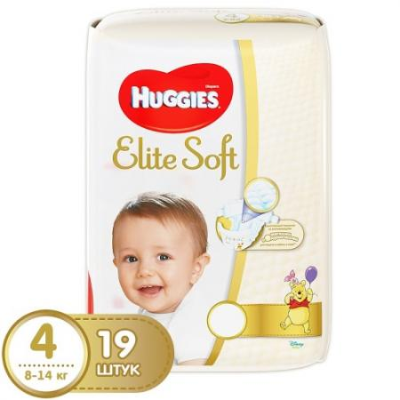 HUGGIES Подгузники Элит Софт 4 8-14кг 19шт huggies трусики подгузники элит софт 4 8 14 кг 21 шт