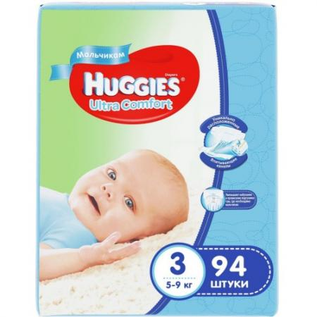 HUGGIES Подгузники Ultra Comfort Размер 3 5-9кг 94шт для мальчиков pui hing 350mg 30 3
