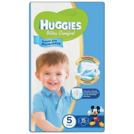 HUGGIES Подгузники Ultra Comfort Размер 5 12-22кг 15шт для мальчиков huggies подгузники huggies ultra comfort для мальчиков giga pack 3 5 9 кг 94 шт
