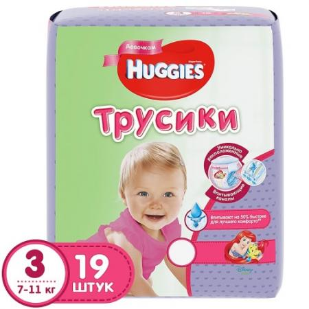 HUGGIES Подгузники-трусики PANTS Annapurna Размер 3 7-11кг 19 шт для девочек pui hing 350mg 30 3