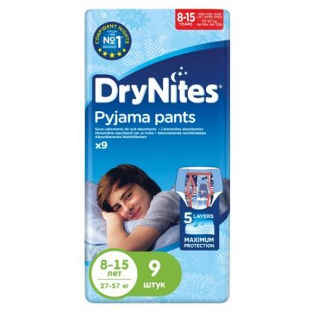 HUGGIES Трусики DryNights для мальчиков 8-15лет 9шт
