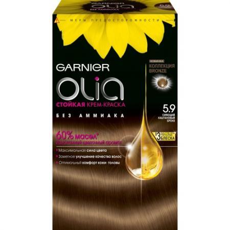 GARNIER Краска для волос Olia 5.9 Бронз garnier стойкая крем краска для волос olia без аммиака оттенок 5 9 сияющий каштановый бронз