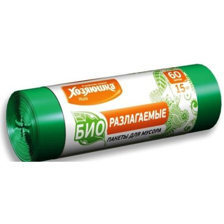 ХОЗЯЮШКА Мила Пакеты для мусора 60л 15шт биоразлагаемые в рулоне амлодипин таб 10мг 30