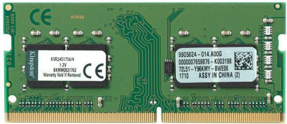 Оперативная память для ноутбуков SO-DDR4 4Gb PC19200 2400MHz Kingston KVR24S17S6/4 оперативная память для ноутбуков so ddr4 4gb pc19200 2400mhz kingston kcp424ss8 4