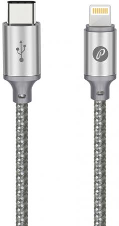 Кабель USB2.0, USB type-C - lightning, 1м, серый, Partner 038387 кабель usb 2 0 samsung galaxy tab 1м partner