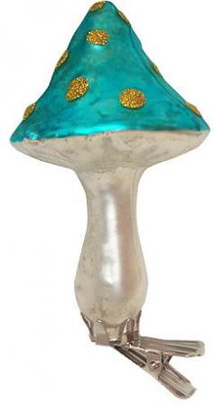 Елочные украшения Winter Wings Гриб с блестящей крошкой 15 см 1 шт цвет в ассортименте стекло