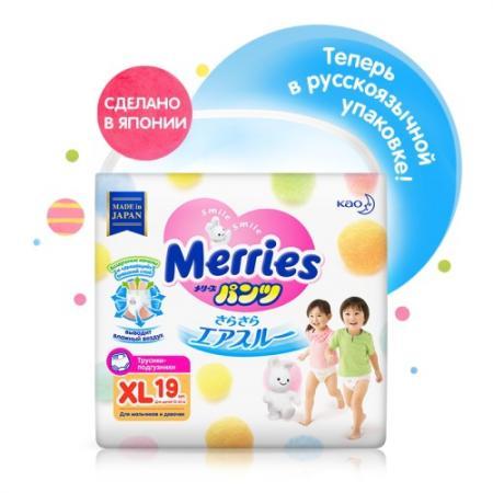 MERRIES Трусики-подгузники для детей большие 12-22 кг/19 шт трусики подгузники merries xl 12 22 кг 76 шт