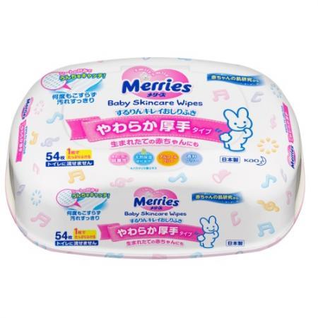 MERRIES Детские влажные салфетки Пластиковый контейнер 54шт салфетки детские merries запасной блок 54шт