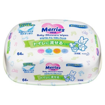 MERRIES Детские влажные салфетки Flushable Пластиковый контейнер 64шт merries детские влажные салфетки merries flushable 64 шт запасной блок