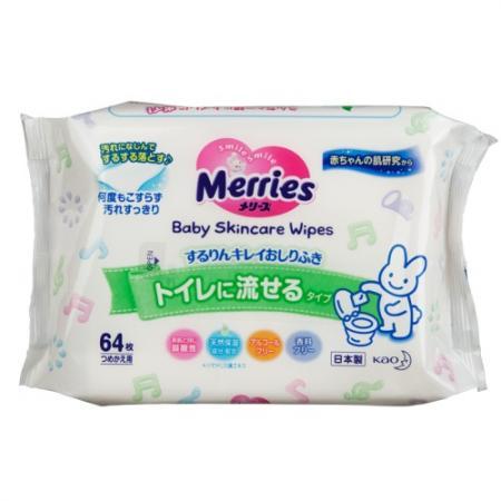 MERRIES Детские влажные салфетки Flushable Запасной блок 64шт салфетки детские merries запасной блок 54шт