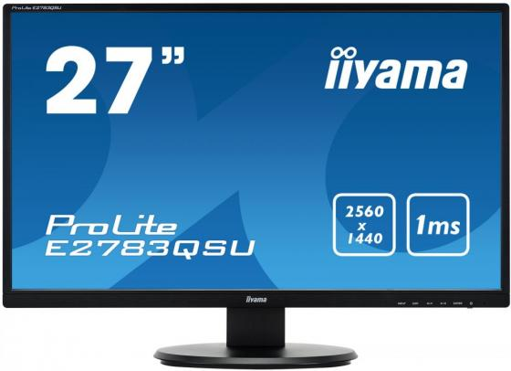 Монитор 27 iiYama ProLite E2783QSU- B1 черный TN 2560x1440 350 cd/m^2 1 ms DVI HDMI DisplayPort Аудио USB монитор 27 iiyama prolite b2791hsu b1 tn led 1920х1080 1ms dvi hdmi displayport