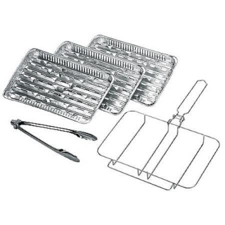 FORESTER MOBILE Комплект одноразовых решеток-гриль рамка 3 алюминиевых сменных лотка щипцы