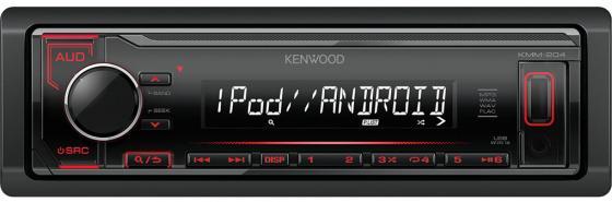 Автомагнитола Kenwood KMM-204 USB MP3 FM RDS 1DIN 4х50Вт черный автомагнитола kenwood kmm 203 usb mp3 fm 1din 4х50вт черный