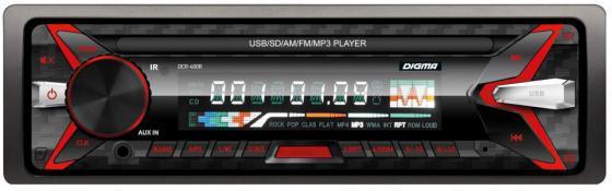 Автомагнитола Digma DCR-400R USB MP3 FM 1DIN 4x45Вт черный автомагнитола digma dcr 100g usb mp3 fm 1din 4x45вт черный