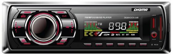 Автомагнитола Digma DCR-330R USB MP3 FM 1DIN 4x45Вт черный