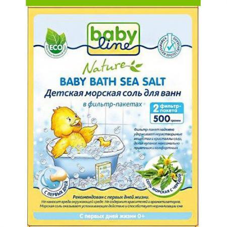 BABYLINE Детская морская соль для ванн c чередой в фильтр-пакетах 500г соль для ванн банные штучки энергия моря 32433 500г