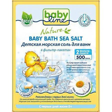 BABYLINE Детская морская соль для ванн с ромашкой в фильтр-пакетах 500г соль для ванн woshi woshi морская ароматная с экстрактом чистотела 500г