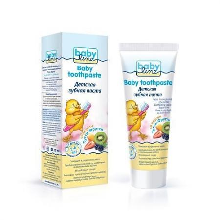 BABYLINE Детская зубная паста со вкусом Тутти-Фрутти жевачки 75 мл. babycoccole зубная паста со вкусом банана 75мл babycoccole