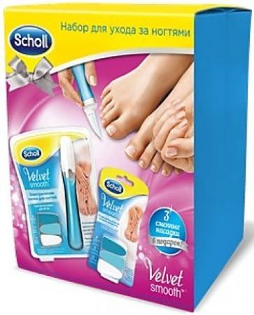 Scholl Новогодний подарочный набор Электрическая пилка для ногтей Сменные насадки scholl электрическая пилка для ухода за ногтями velvet smooth