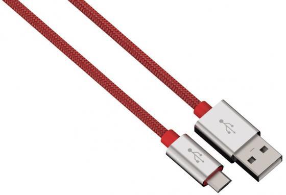 Кабель microUSB 1м HAMA Color Line круглый красный 00080512 кабель 30 pin 1м hama h 173642 круглый