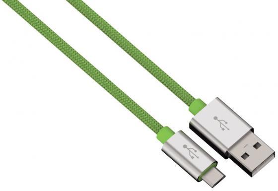 Кабель microUSB 1м HAMA Color Line круглый зеленый 00080514 кабель hama 00178204 microusb usb 2 0 1м синий