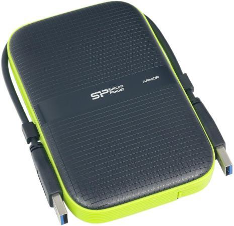 "Внешний жесткий диск 2.5"" USB3.0 4Tb Silicon Power Armor A60 SP040TBPHDA60S3K черный/зеленый silicon power 500gb a60 armor black"