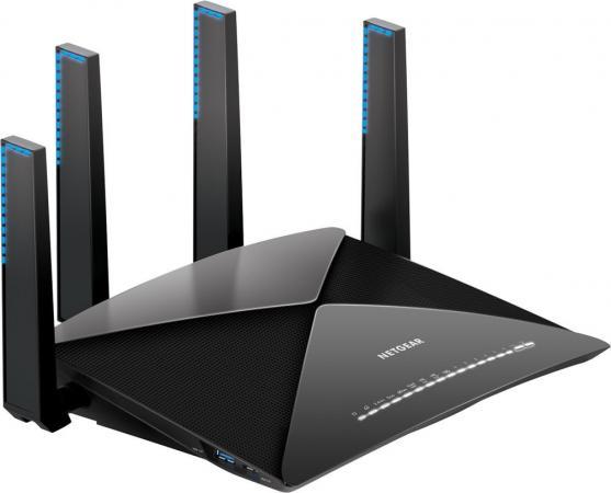 Беспроводной маршрутизатор NetGear R9000-100EUS 802.11ad 7133Mbps 2.4 ГГц 5 ГГц 6xLAN черный беспроводной маршрутизатор netgear wndr3400 100pes