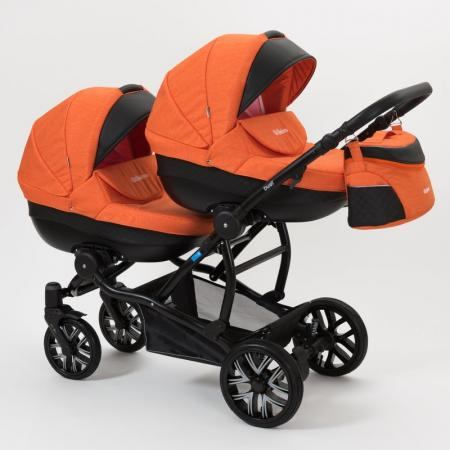 Коляска 2-в-1 для двоих детей Mr Sandman Duet (50% эко-кожа/черный перфорированный - оранжевый/7) коляска mr sandman prima люлька 100% эко кожа темно синий kmsp100 073407