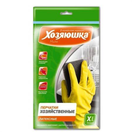 ХОЗЯЮШКА Мила Перчатки хозяйственные латексные размер XL перчатки хозяйственные myungjin rubber glove латексные удлиненные с манжетой размер xl h2
