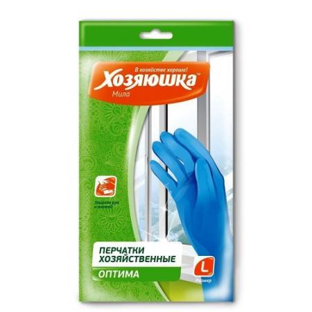ХОЗЯЮШКА Мила Перчатки хозяйственные ОПТИМА размер L 3шт перчатки хозяйственные хозяюшка мила латексные размер м