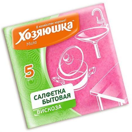 ХОЗЯЮШКА Мила Салфетка бытовая вискоза 35*35см 5шт салфетка бытовая хозяюшка мила цвет розовый 35 х 35 см 3 шт