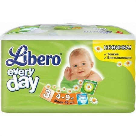 LIBERO Подгузники детские Every Day миди 4-9кг 46шт упаковка экономичная libero подгузники детские every day экстра лардж 11 25кг 16шт упаковка стандартная