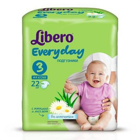 LIBERO Подгузники детские Every Day миди 4-9кг 22шт упаковка стандартная libero подгузники детские every day экстра лардж 11 25кг 16шт упаковка стандартная