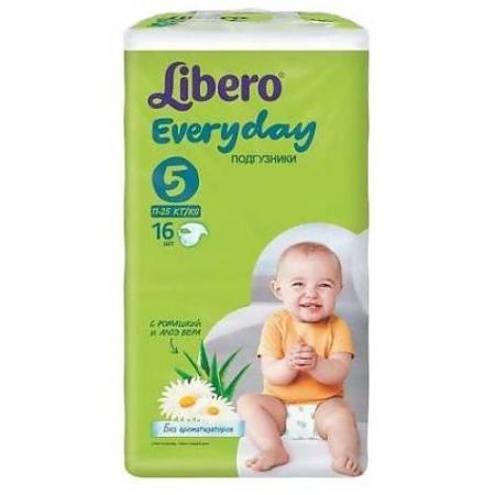 LIBERO Подгузники детские Every Day экстра лардж 11-25кг 16шт упаковка стандартная every набор чехлов для дивана every цвет кремовый