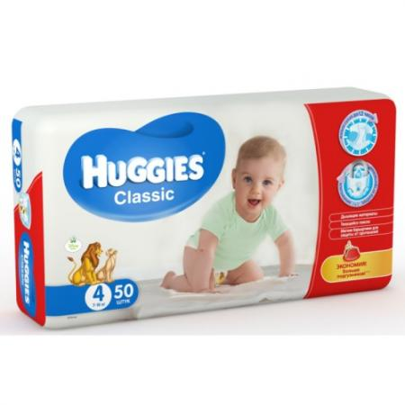 HUGGIES Подгузники CLASSIC Размер 4 7-18кг 50шт подгузники huggies classic 4 7 18 кг 68 шт