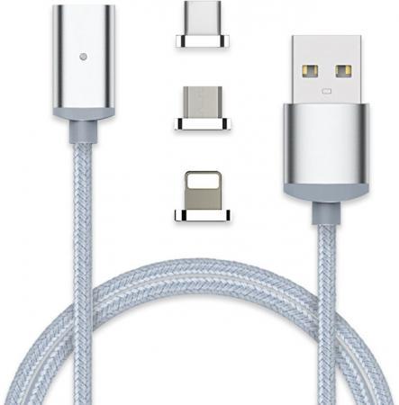 Кабель microUSB 1м VCOM Telecom CU283LMC круглый серебристый + Type-C/Lighting кабель lightning 1м wiiix круглый cb120 u8 10b