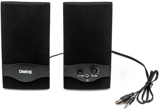 Колонки Dialog Colibri AC-22UP 2Вт USB черный компьютерная акустика dialog ac 04up черный оранжевый ac 04up black orange