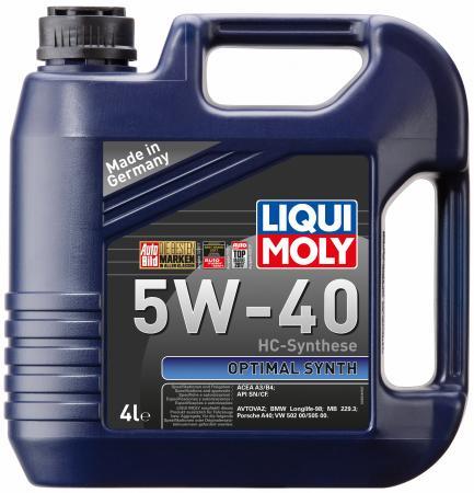 НС-синтетическое моторное масло LiquiMoly Optimal Synth 5W40 4 л 3926 синтетическое моторное масло peak full synthetic motor oil euro 5w 40 0 946 л p4mse576