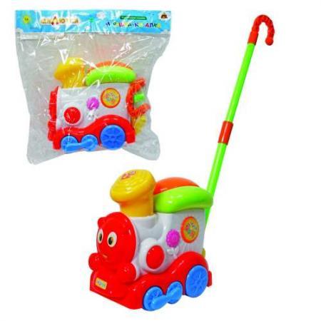 Каталка на палочке Тилибом Паравозик пластик от 1 года на колесах разноцветный т80590 каталка на палочке наша игрушка пилот пластик от 1 года на колесах красный 8500 1