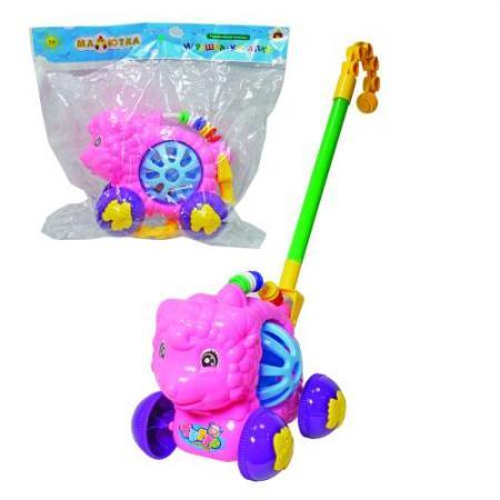 Каталка на палочке Тилибом Весёлые животные пластик от 1 года на колесах разноцветный каталка качалка r toys лошадка трансформер пластик от 1 года на колесах разноцветный