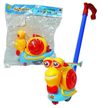 Каталка на палочке Тилибом Улитка пластик от 1 года на колесах разноцветный каталка на палочке s s toys рыбка пластик от 1 года на колесах оранжевый