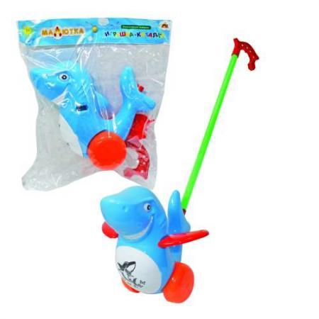 Каталка на палочке Тилибом Дельфин пластик от 1 года на колесах разноцветный каталка на палочке karolina toys карусель разноцветный от 1 года пластик 40 0033