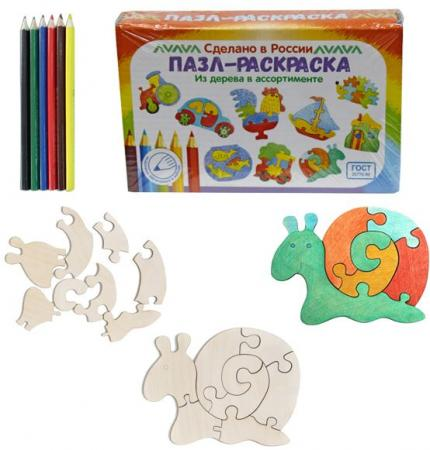 """Развивающая игрушка: Пазл-раскраска """"Улитка"""" мастер игрушек водоем"""